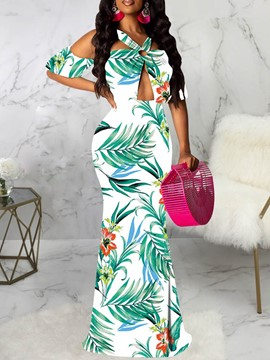 Ericdress Print Bodycon Cold Shoulder Floor-Length Maxi Dress