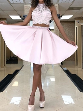 Ericdress Appliques Sleeveless A-Line Halter Homecoming Dress