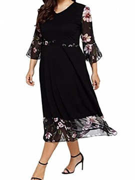 Ericdress Plus Size Flare Sleeve A-Line Patchwork Casual Dress