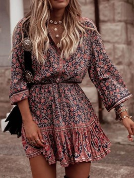 Ericdress Floral A-Line Casual V-Neck Lace-Up Mid Waist Dress