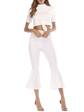 Ericdress Plain Bowknot Stehkragen Bellbottoms zweiteilige Sets