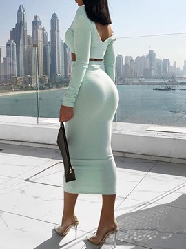Ericdress Plain Fashion Skinny Women's Suit T-Shirt And Skirt Two Piece Sets