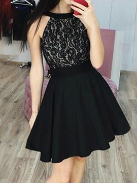Ericdress A-Line Lace Mini Sleeveless Homecoming Dress