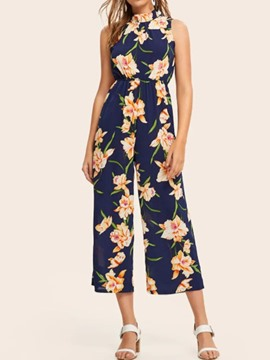 Ericdress Floral Mid-Calf Print Loose Wide Legs Jumpsuit