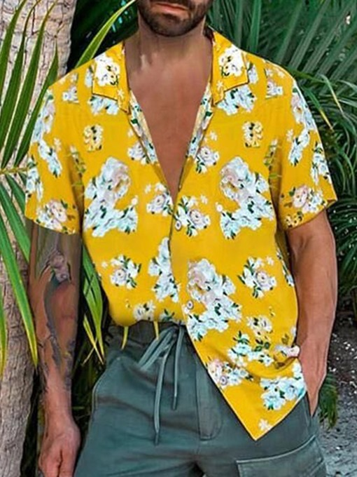 Ericdress Lapel Floral Fashion Loose Men's Single-Breasted Shirt