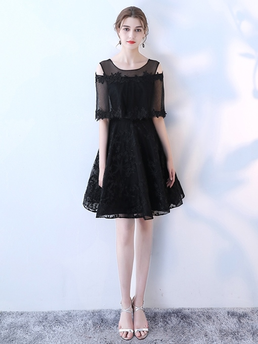 Ericdress Knee-Length Appliques Half Sleeves A-Line Homecoming Dress
