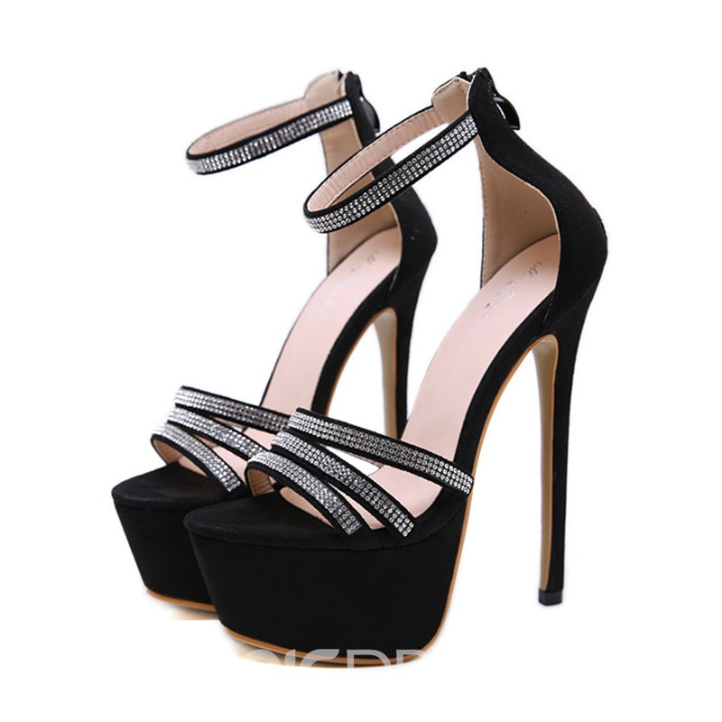 Ericdress Rhinestone Open Toe Zipper Stiletto Heel Women's Prom Shoes