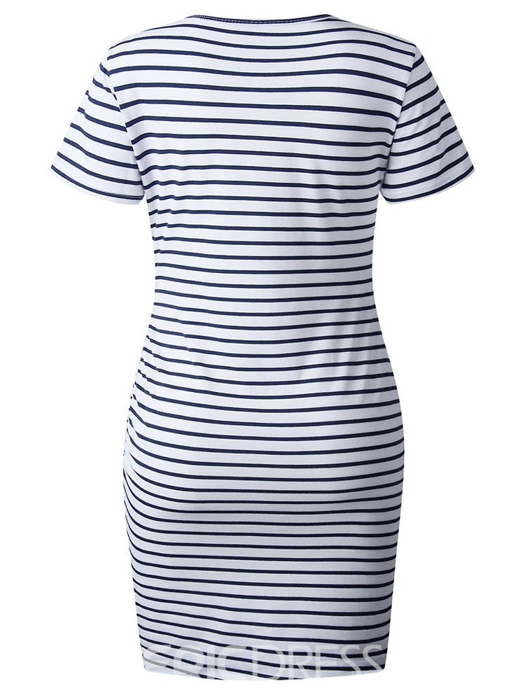 Ericdress Striped Asymmetrical Round Neck Short Sleeve Above Knee Dress