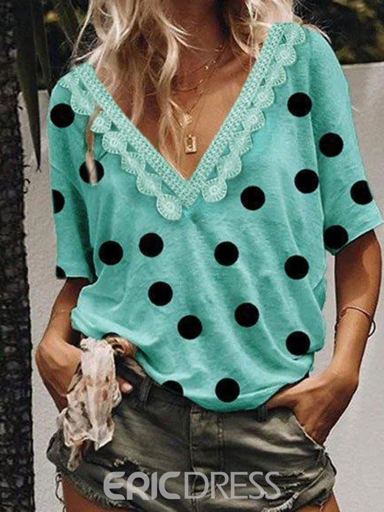Ericdress Polka Dots V-Neck Patchwork Lace Loose T-Shirt