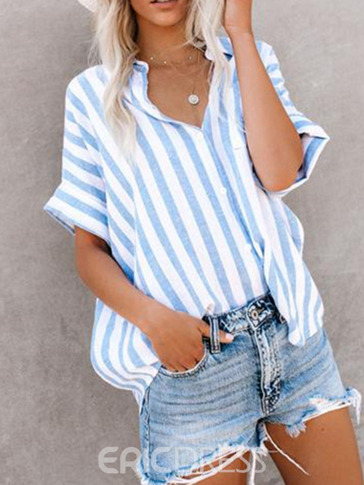 Ericdress Stripe Color Block Button Short Sleeve Single Blouse