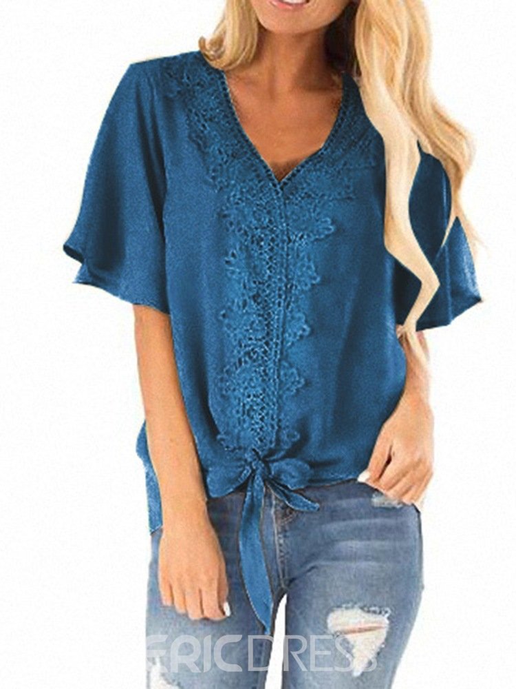 Ericdress V-Neck Bowknot Patchwork Lace Short Sleeve Loose Blouse
