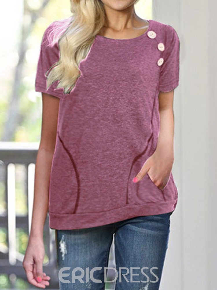 Ericdress Round Neck Plain Pocket Summer Loose T-Shirt