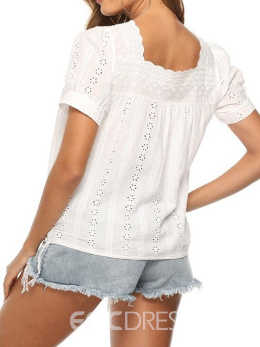Ericdress Square Neck Plain Hollow Short Sleeve Casual Blouse
