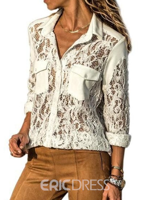 Ericdress Plain Pocket Lapel Patchwork Lace Sexy Blouse