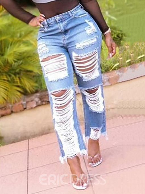 Ericdress Plain Ripped Mid Waist Loose Jeans