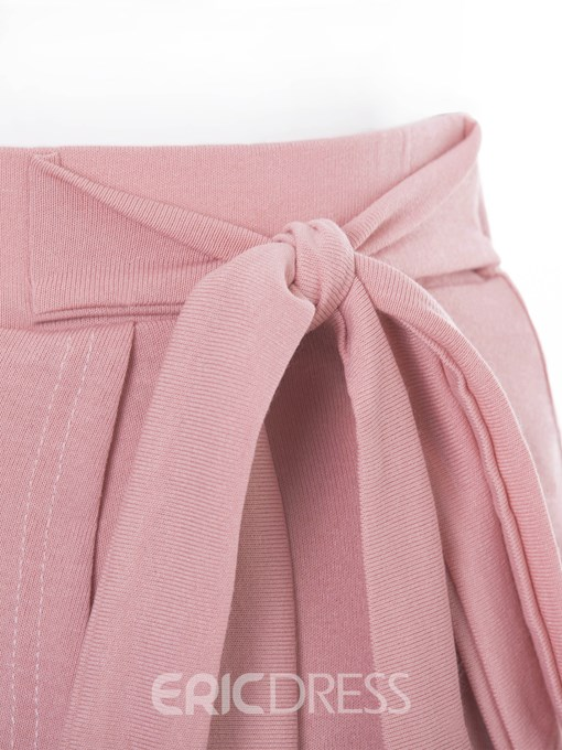 Ericdress Plus Size Plain Bowknot Asymmetrical High Waist Skirt