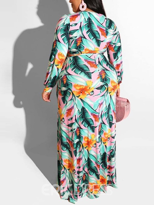 Ericdress Plus Size Print V-Neck Split Floor-Length Casual Dress