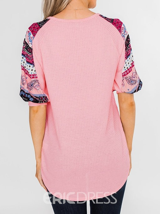 Ericdress V-Neck Button Print Short Sleeve Casual Sweater