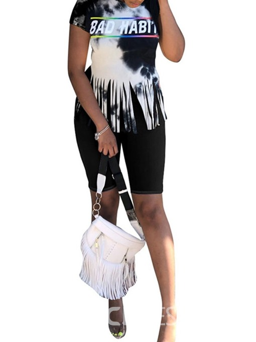 Ericdress Casual Print Letter Skinny Women's Suit T-Shirt And Shorts Two Piece Sets