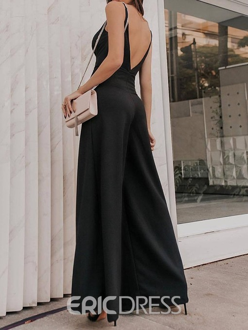 Ericdress Plain Full Length Fashion Wide Legs Loose Jumpsuit