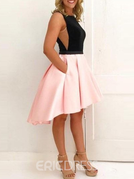 Ericdress Hollow Bateau Asymmetry Sleeveless Homecoming Dress