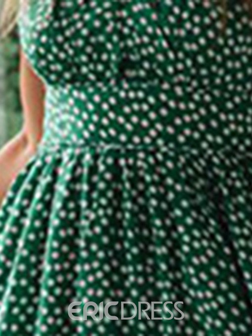 Ericdress Polka Dots Square Neck Stringy Selvedge Mid-Calf Expansion Dress