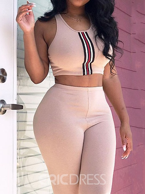 Ericdress Casual Print Skinny Women's Suit Vest And Pants Two Piece Sets