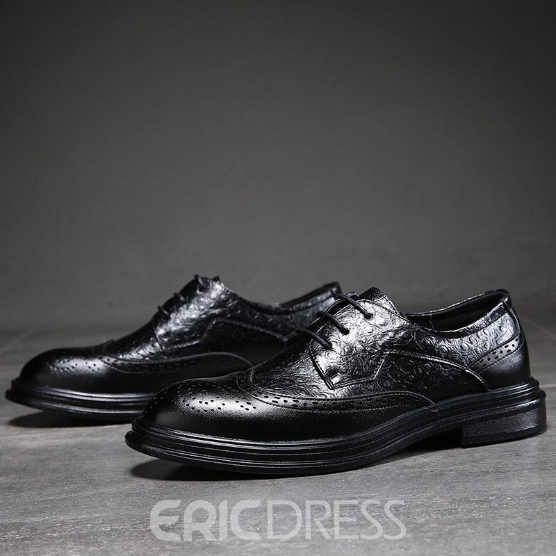 Ericdress Plain Lace-Up Low-Cut Upper Round Toe Men's Oxfords