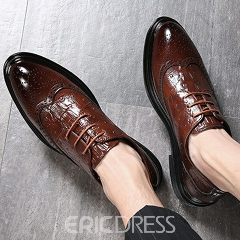 Ericdress PU Lace-Up Round Toe Men's Oxfords