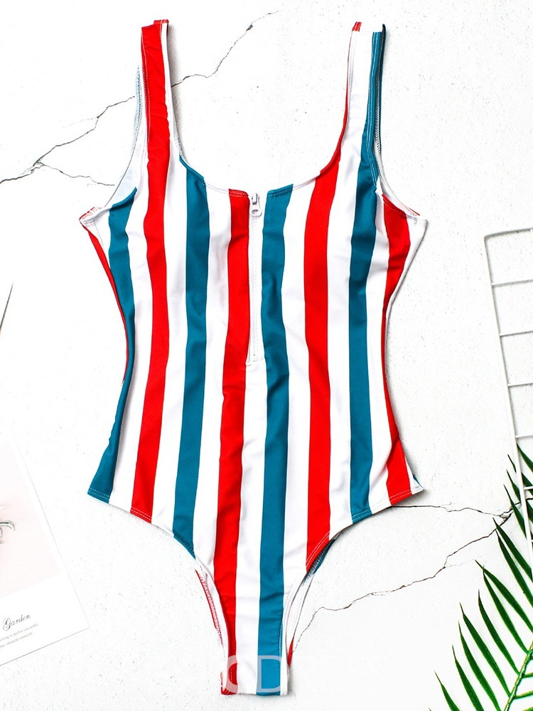 Ericdress One Piece Stripe Zipper Color Block Stretchy Swimwear