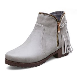 Ericdress Fringe Block Heel Round Toe Side Zipper Women's Boots