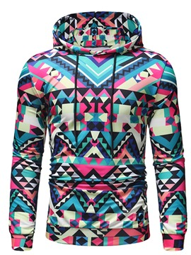 Ericdress Thin Geometric Print Slim Men's Pullover Hoodies