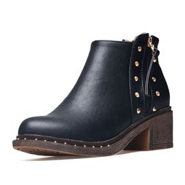 Ericdress PU Rivet Side Zipper Chunky Heel Women's Boots