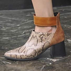 Ericdress Serpentine Round Toe Back Zip Chunky Heel Women's Ankle Boots