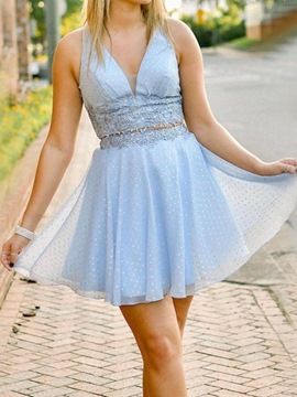 Ericdress Appliques Short Sleeveless A-Line Homecoming Dress 2019