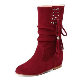 Ericdress PU Fringe Round Toe Women's Casual Boots