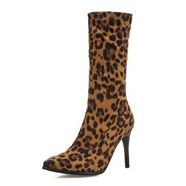 Ericdress Leopard Print Pointed Toe Side Zipper Stiletto Heel Women's Ankle Boots