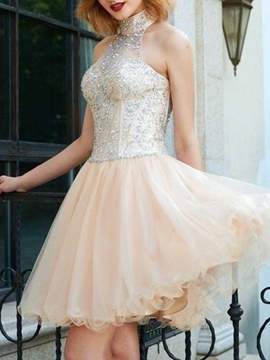 Ericdress Beading High Neck A-Line Short Homecoming Dress