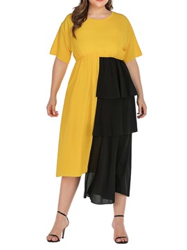 Ericdress Plus Size Asymmetrical Color Block Round Neck Patchwork Regular Casual Dress