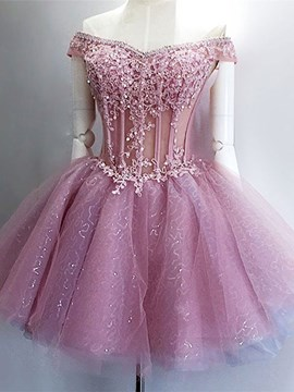 Ericdress Ball Gown Beading Short Sleeves Mini Homecoming Dress