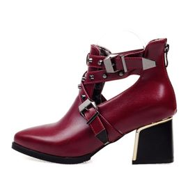 Ericdress Plain Rivet Back Zip Chunky Heel Women's Ankle Boots