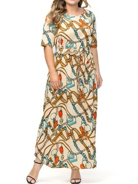 Ericdress Plus Size Print Short Sleeve Round Neck A-Line Geometric Dress