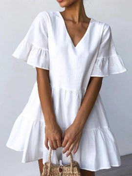 Ericdress Casual Short Sleeve Pleated V-Neck Plain Single Dress