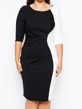 Ericdress Plus Size Color Block Patchwork Knee-Length Bodycon Dress