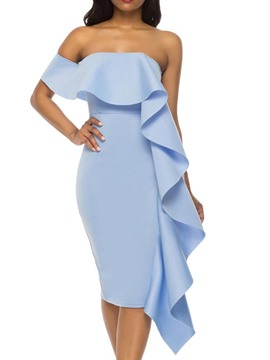 Ericdress Strapless Stringy Selvedge Short Sleeve Cocktail Bodycon Asymmetric Dress