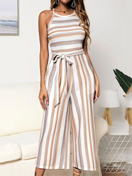 Ericdress Casual Stripe Mid-Calf Mid Waist Wide Legs Jumpsuit