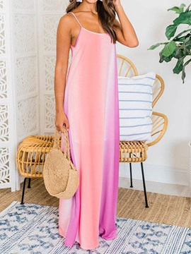 Ericdress Sleeveless Floor-Length Spaghetti Strap Casual Maxi Dress