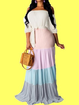 Ericdress Off Shoulder Pleated Floor-Length Color Block Regular Maxi Dress