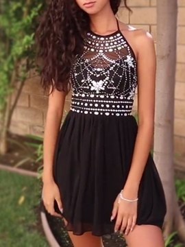 Ericdress Beading Short Sleeveless A-Line Homecoming Dress