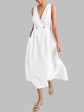 Ericdress A-Line V-Neck Mid-Calf Sleeveless Pullover Plain Dress